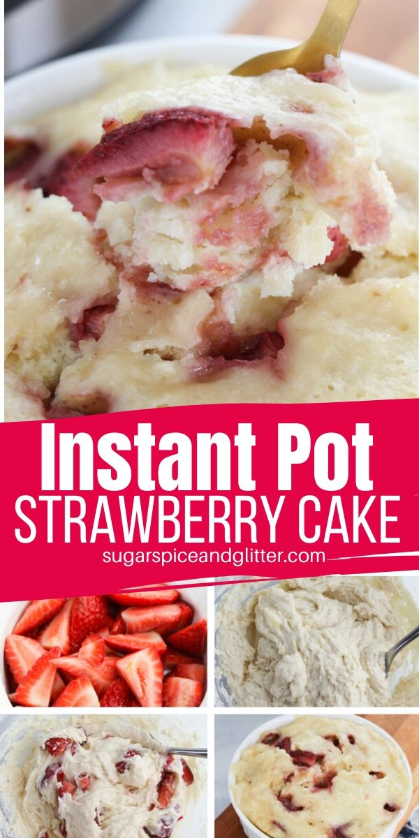Need something sweet but don't want to heat up the whole house? This super simple Instant Pot Cake is made with fresh strawberries and ready to eat in less than 20 minutes, the best Instant Pot dessert for summer!