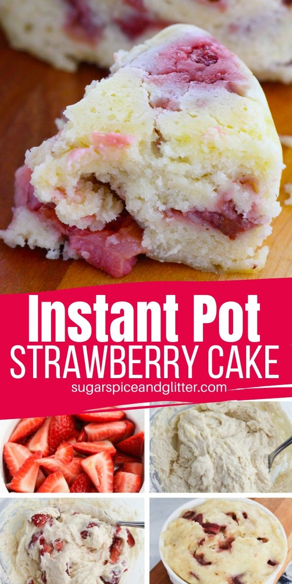 Can you believe this Instant Pot Strawberry Cake is ready to eat in less than 20 minutes? A delicious Instant Pot Dessert recipe for the summer
