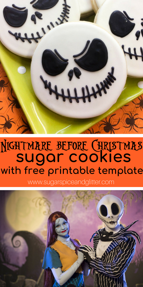 A Disney Halloween recipe that you can make at home, these Jack Skellington Sugar Cookies are perfect for a Nightmare Before Christmas theme or movie night