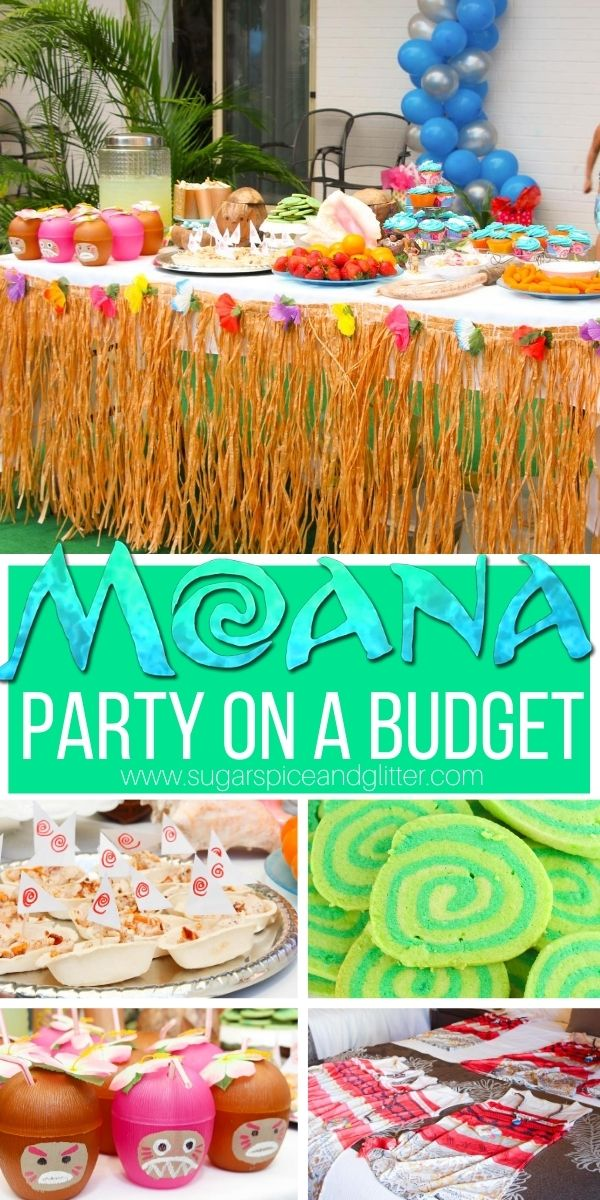 Everything you need to plan your child's Moana Birthday Party on a budget - Moana party games, gift bags, Moana party food, budget-friendly Moana party decor and more!