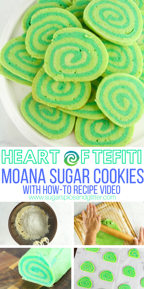 A fun Disney cookie recipe, these Moana-inspired Heart of Tefiti cookies are a simple pinwheel cookie dyed green for a delicious themed dessert