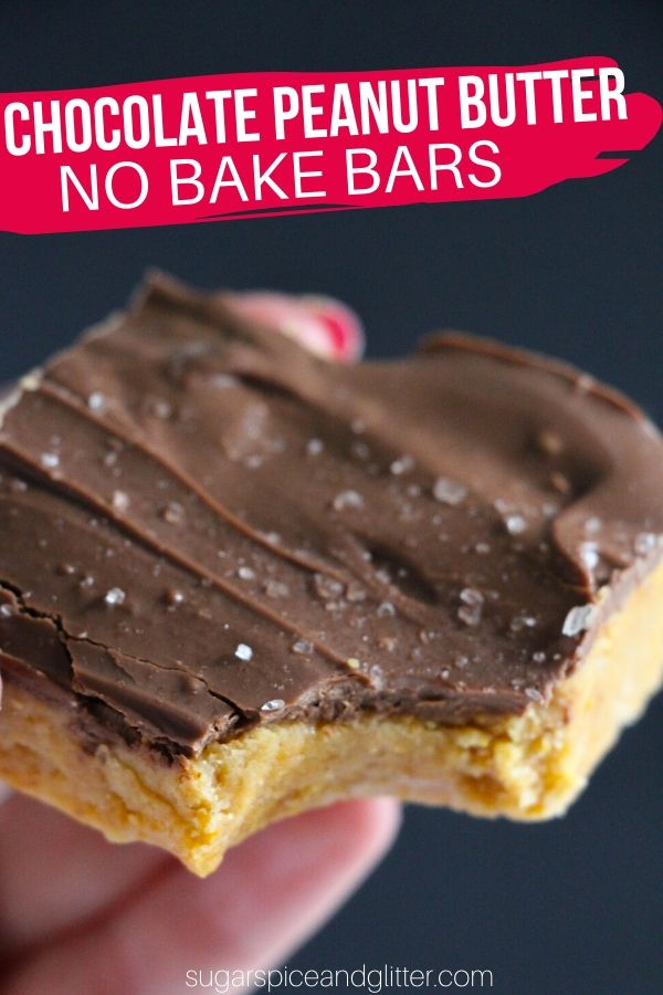 These no-bake peanut butter bars are an indulgent and rich take on the classic Reese's PB Cup. Mix it up with white chocolate, sprinkles, or a hit of sea salt