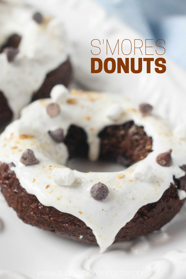 A delicious smores dessert idea, these Chocolate S'mores Donuts are a fun brunch recipe or addition to a camping themed party