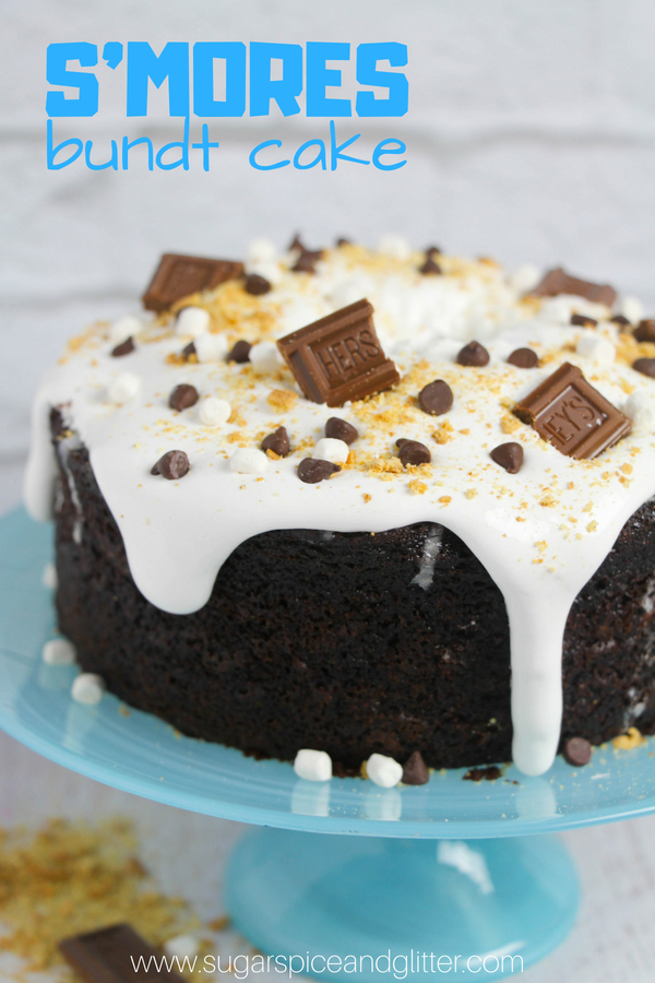 A fun Smores cake perfect for a camp-themed party or a summer BBQ, this S'mores Bundt Cake is super easy to make but makes a big impression