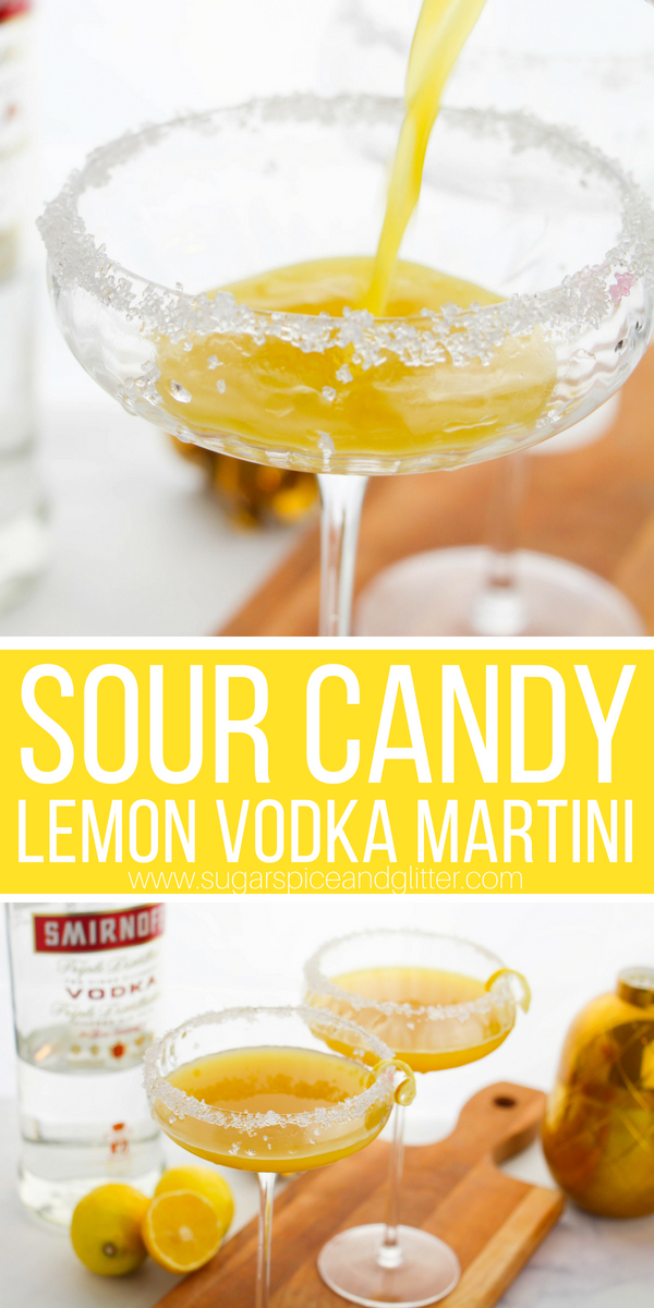 A delicious Lemon cocktail recipe, this Lemon Vodka Martini tastes just like lemon sour candy. It works equally well as a summer cocktail on the patio as it does for Halloween cocktail parties.