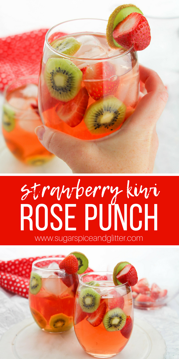 A fun and fruity summer punch recipe, this Strawberry Kiwi Rosé Punch is a delicious summer brunch cocktail or casual patio cocktail sipping with friends.