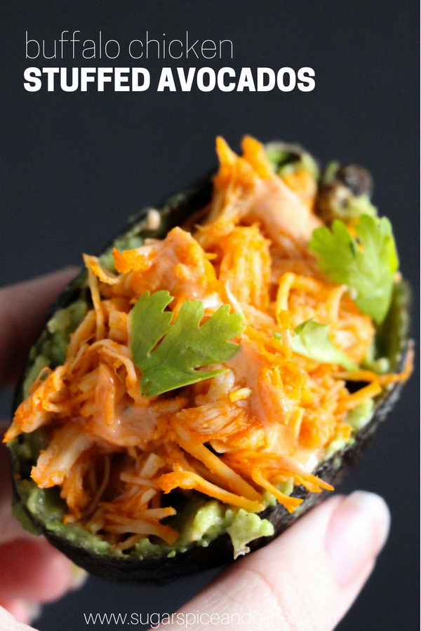 A delicious stuffed avocado recipe, this Buffalo Chicken stuffed avocado recipe is low carb and a tasty way to add more protein to your day