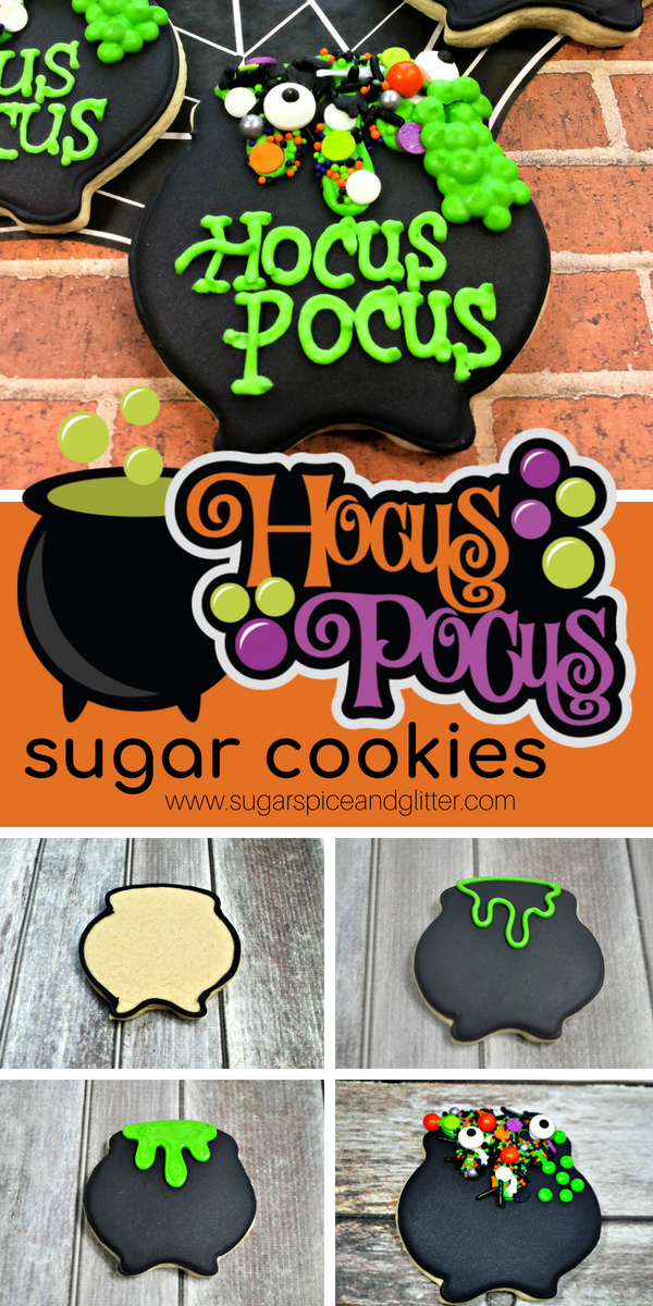 A Disney Halloween dessert recipe inspired by Hocus Pocus - this fun witches cauldron sugar cookie is perfect for Halloween parties or Halloween movie nights