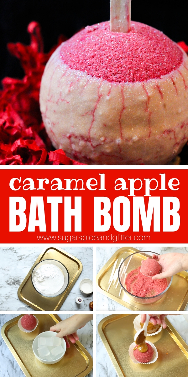 A deliciously scented Caramel Apple Bath Bomb, this DIY fizzy bath bomb is perfect for fall or as a non-candy Halloween treat or a fun way to unwind in the fall