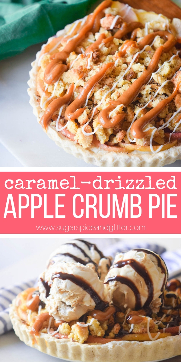 This caramel-drizzle apple crumb pie is a simpler take on a Dutch Apple pie and it works perfectly with just about any fruit combination!