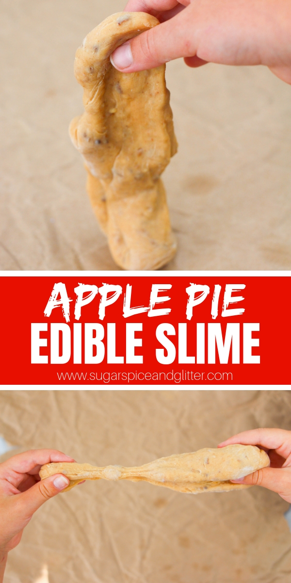 A tasty and unique edible slime recipe - this one actually tastes like apple pie candy and you probably have everything you need to make it in your kitchen right now! A fun fall sensory play idea