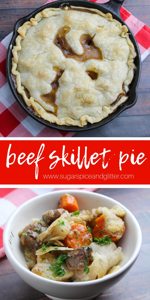 A delicious and easy beef recipe, this Homemade Beef Pot Pie recipe can be made completely in a skillet for minimal clean-up and easy prep! An awesome skillet recipe to add to your collection