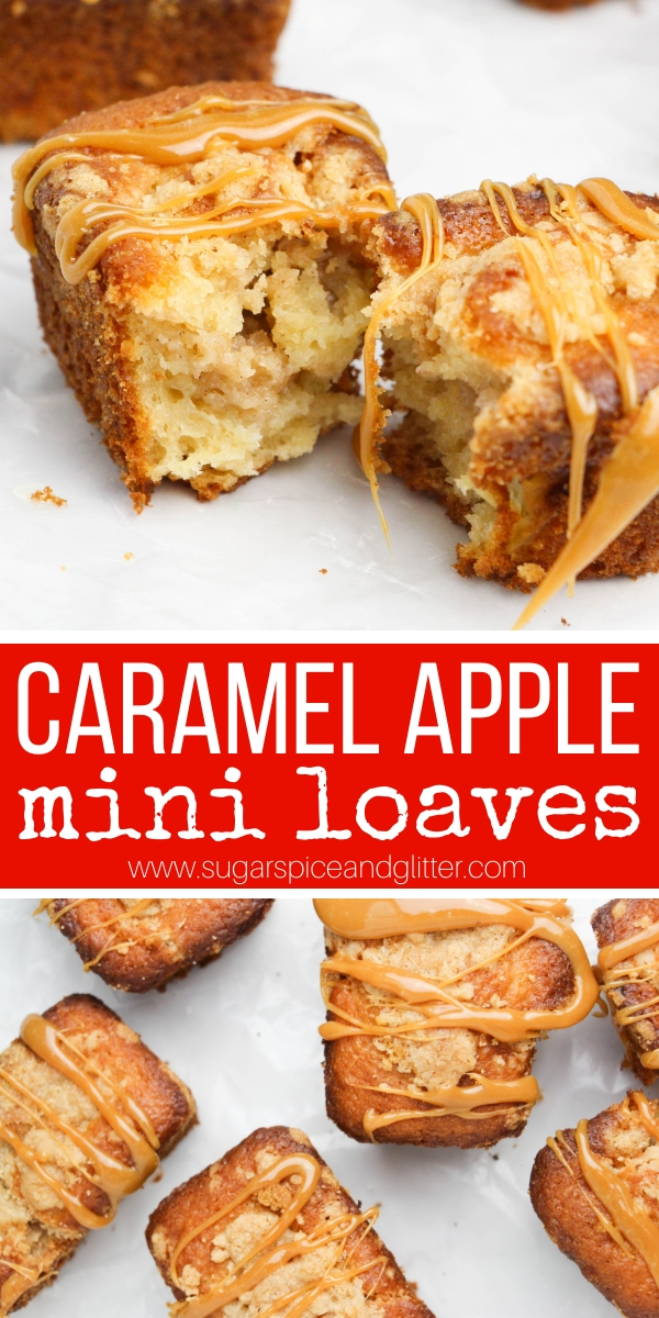 Caramel Apples get a bakery make-over with these Mini Caramel Apple Crumb Cakes - fun, single-serving fall dessert for snacking or entertaining. A copycat Starbucks recipe that is super simple to make