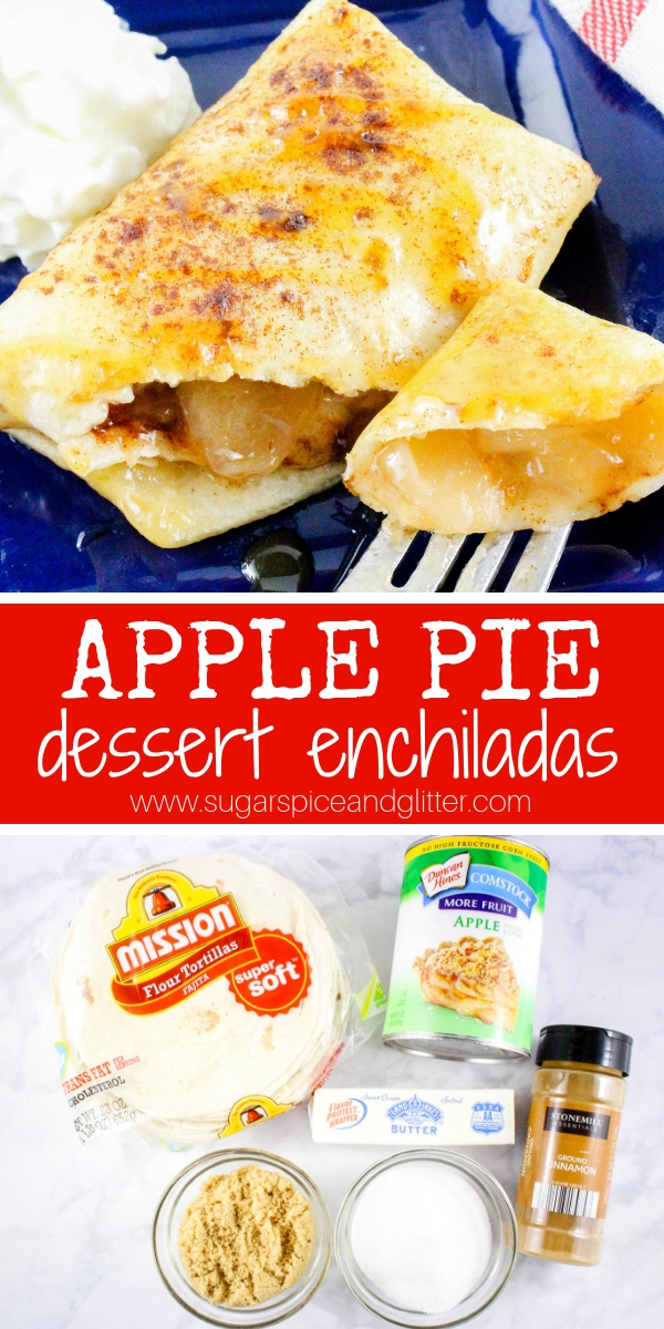 A fun apple dessert for fall, these Apple Pie Dessert Enchiladas are also called Mexican Apple Pies