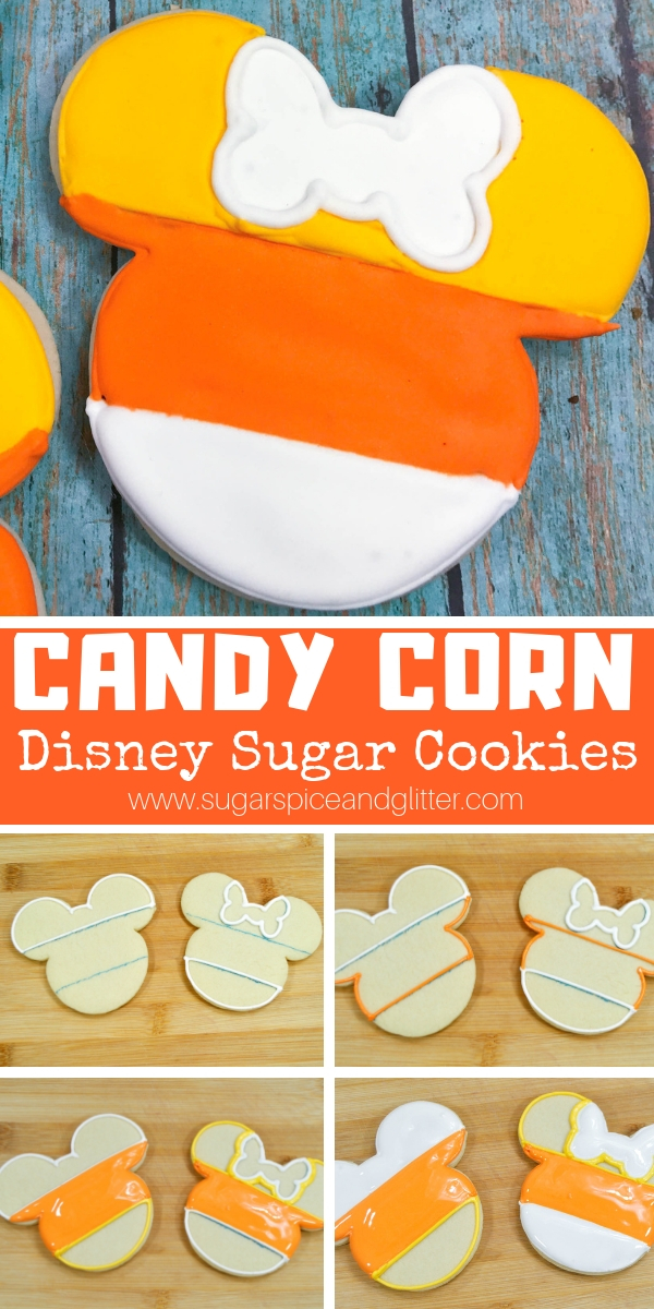 A delicious candy corn sugar cookie perfect for a Halloween party or Halloween dessert for gifting to a Disney fan