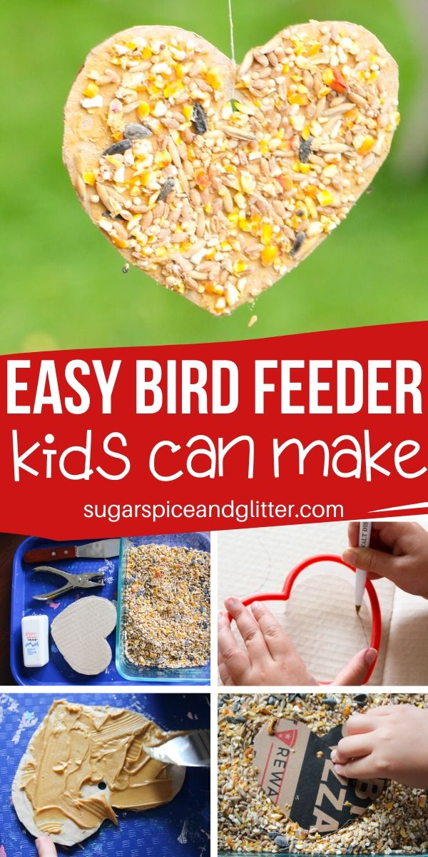 How to make the EASIEST bird feeder ever with materials you already have at home - a super easy activity for kids to do and then watch all of the birds come enjoy their creation!
