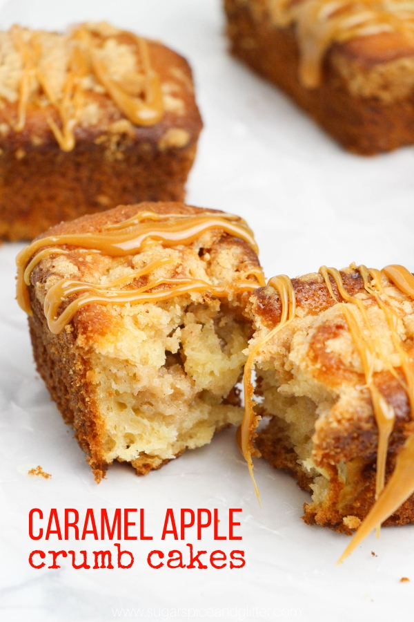 These mouth-watering mini caramel apple crumb cakes are a fun take on mini-loaves and the perfect fall dessert for casual entertaining, like playdates or afternoon coffees.