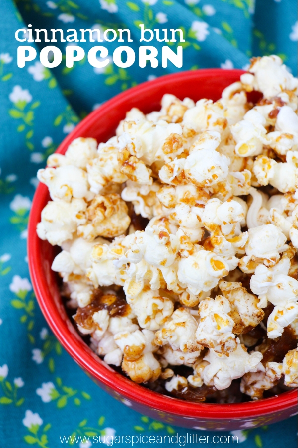 A fun homemade popcorn recipe for cinnamon bun fans, this Cinnamon Bun Popcorn is a great addition to your next family movie night