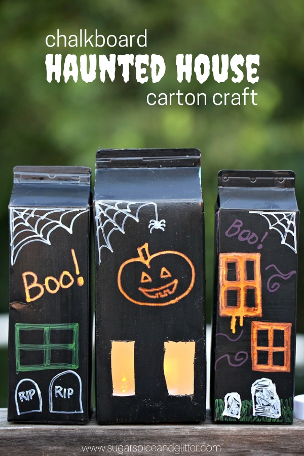 An easy Halloween craft for kids, these Haunted Houses are made of empty juice cartons and can be painted on over and over again thanks to chalkboard paint and chalkboard markers