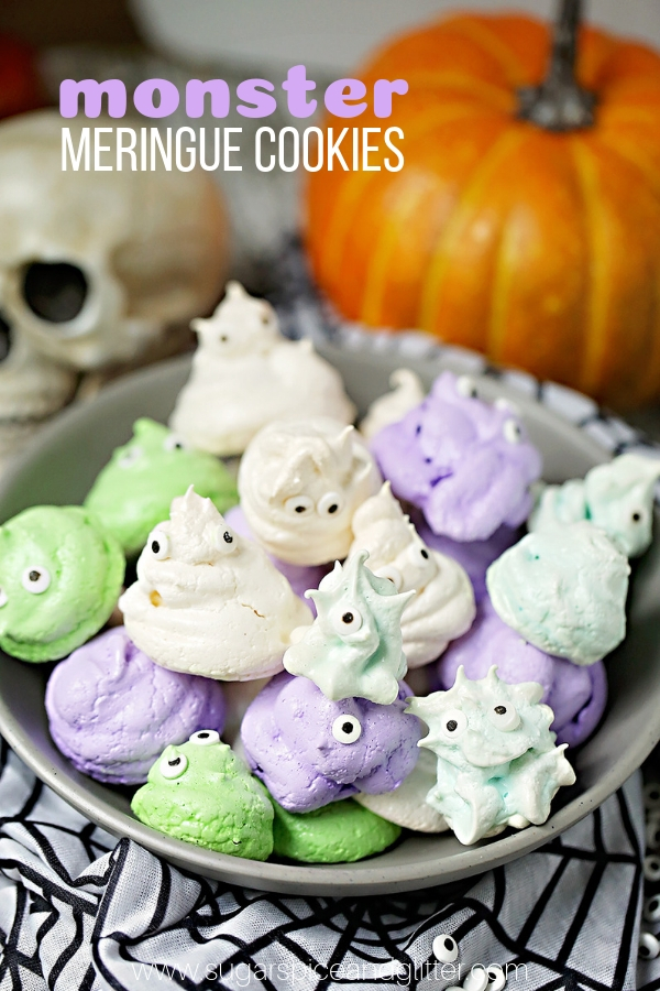 A super simple Monster Meringue Cookie recipe inspired by Hotel Transylvania, these little monsters are light, crispy and airy, perfect for a light Halloween dessert