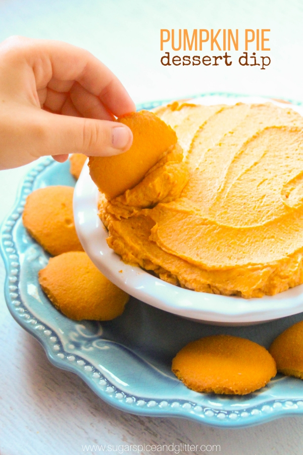A delicious 3-ingredient pumpkin pie dip perfect for dipping vanilla wafers, this pumpkin pie dip is an easy fall dessert for parties