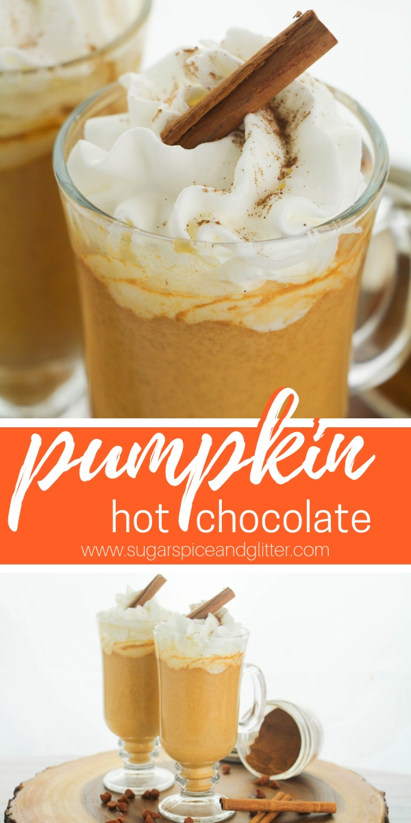 A creamy and delicious hot chocolate recipe, this Pumpkin Hot Chocolate recipe is just perfect for fall entertaining. This kid-friendly hot chocolate recipe is sophisticated enough for grown-ups, too