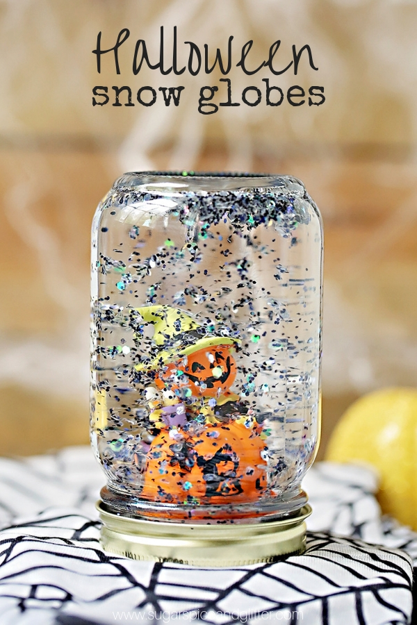 a fun diy snow globe kids can make this halloween snow globe is super simple to make and a great halloween party activity