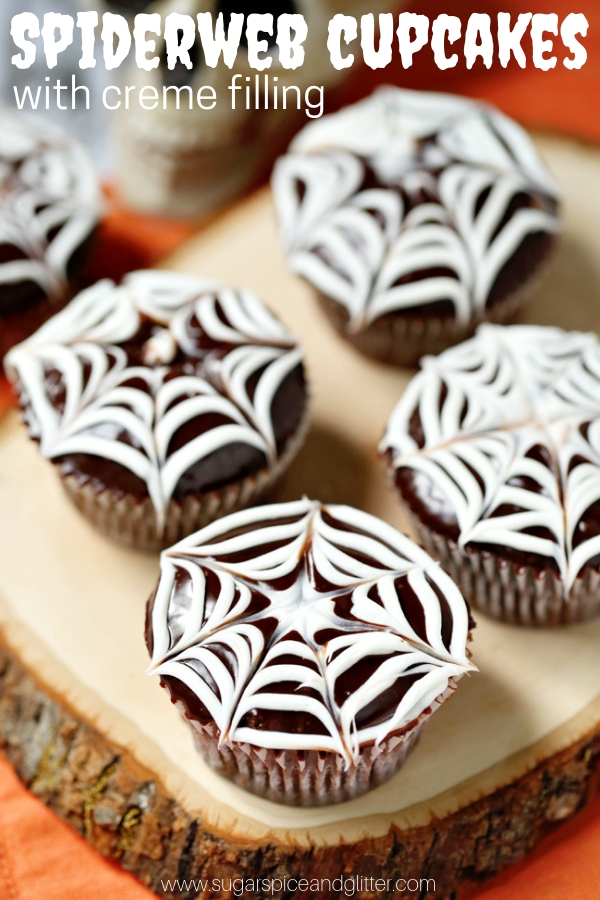These Spooky Spiderweb Cupcakes are the perfect easy Halloween dessert for a Halloween party or classroom treat