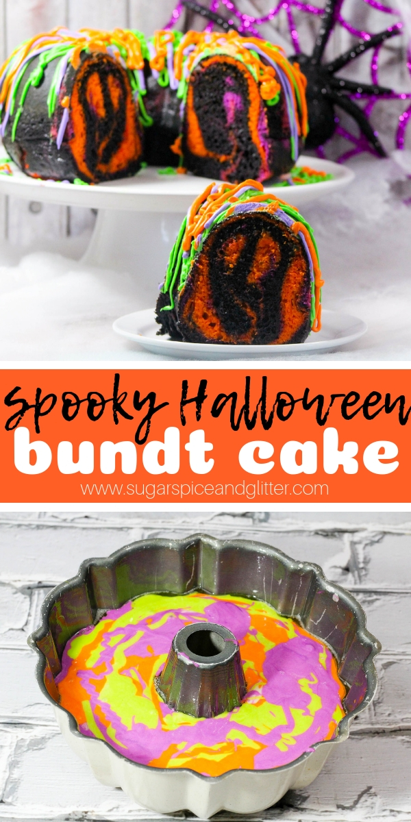 A fun surprise inside cake for Halloween, this Halloween bundt cake has a magically appearing ghost in each slice!