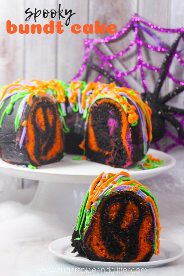 A fun Halloween cake recipe for a Halloween party, this Spooky Halloween Bundt Cake has a surprise inside!
