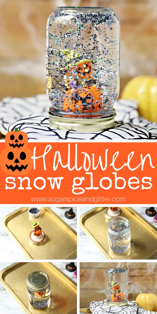 A fun DIY Snow Globe Kids Can Make, this Halloween Snow Globe is super simple Halloween craft for kids to make and a great Halloween party activity!