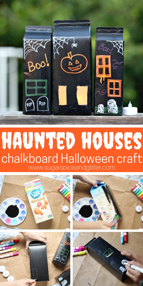 This easy Haunted House chalkboard Halloween craft is the perfect DIY Halloween decoration for kids to help make - plus you can repaint them over and over again