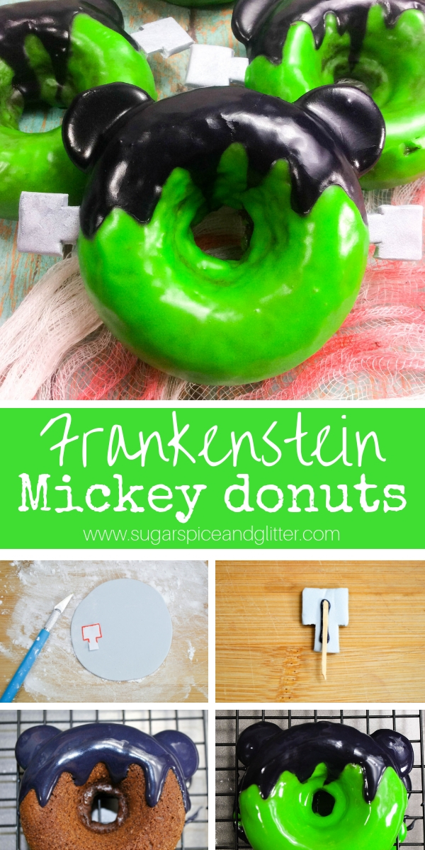 These Halloween Frankenstein donuts are inspired by Mickey's Not So Scary Halloween Party and are the perfect way to celebrate Halloween as a Disney family
