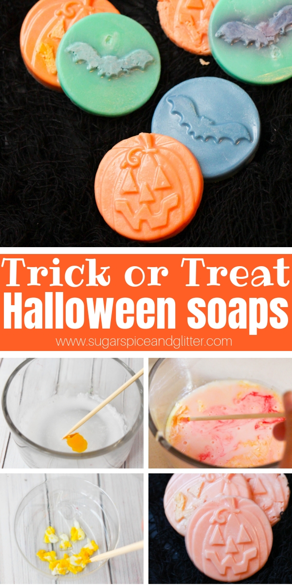 An easy non-candy Halloween treat, this DIY Halloween Soap is super simple to make and an inexpensive homemade option for Halloween parties or Halloween classroom gifts.