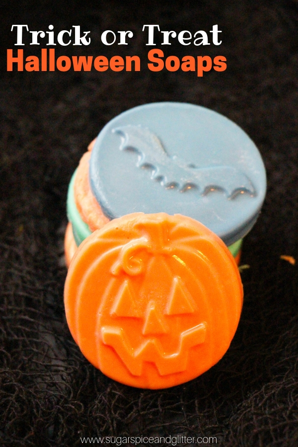 These super simple Halloween soaps are a cute non-candy alternative for Halloween, Trick or Treat for these Jack O Lantern soaps