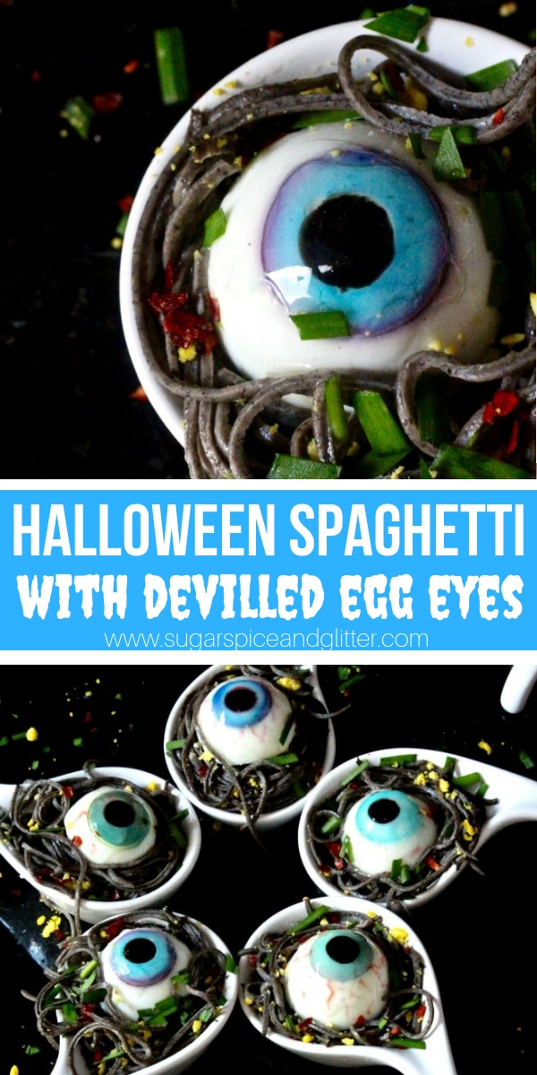 Garlicky Black Bean Pasta with Deviled Egg Eyes - a spooky Halloween meal your whole family will love