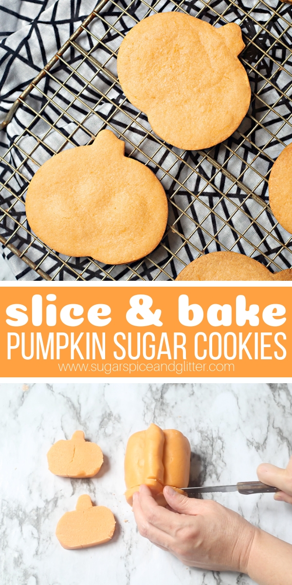 A quick and easy Halloween dessert you can make at home, these Slice and Bake Pumpkin Sugar Cookies are a fun twist on slice and bake cookies, and you can customize the color and flavor to your preferences. These are perfect for a Halloween party or trick or treating!