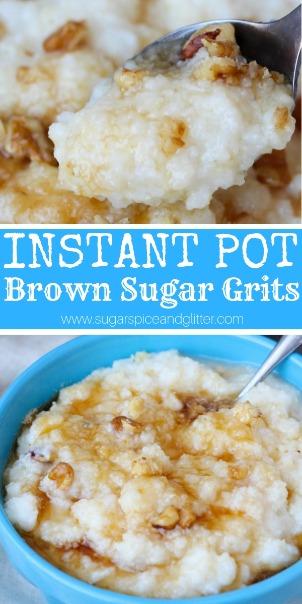 A delicious instant pot breakfast recipe for instant pot grits, a sweet grits recipe using maple syrup, nuts and brown sugar