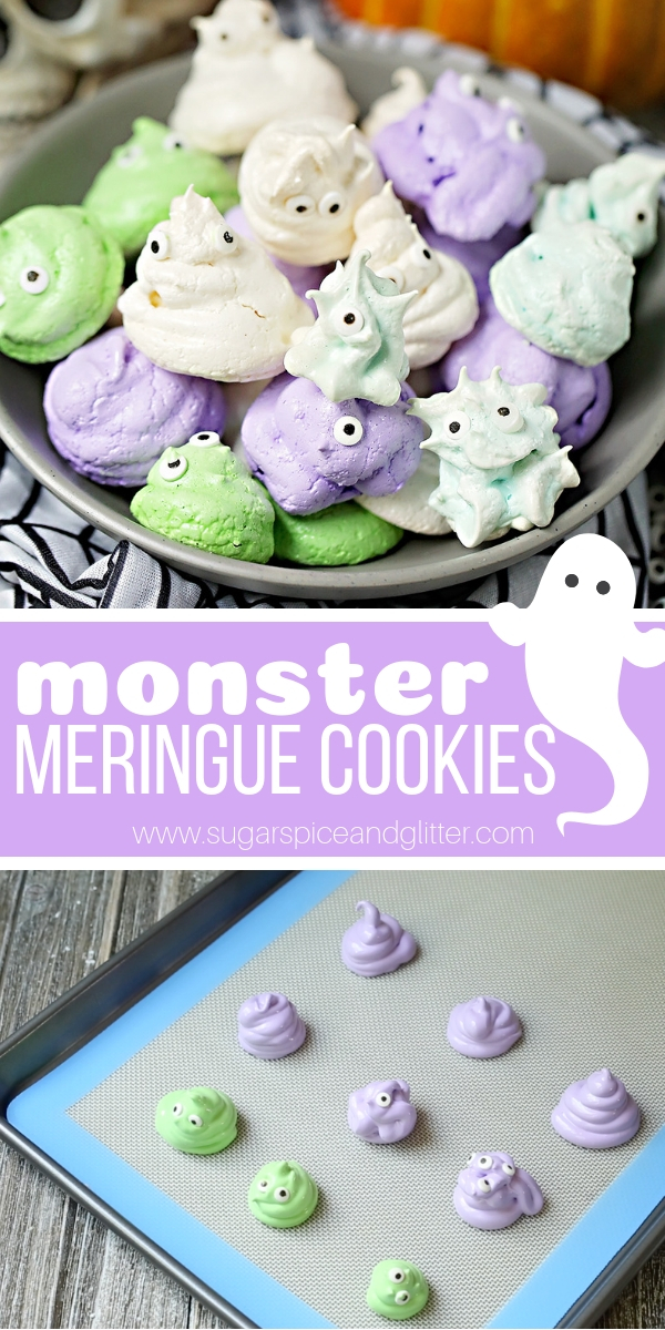 A fun Monster Meringue Cookie recipe that isn't spooky or scary - perfect for a Halloween party dessert or a simple edible Halloween cupcake topper