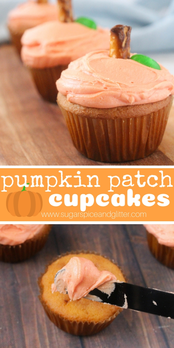 These super simple fall cupcakes can be whatever cake flavor you want, topped with a simple vanilla buttercream and decorated to look like little pumpkin cupcakes