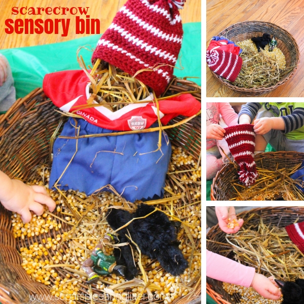 Scarecrow Sensory Bin, perfect for playing with after reading a Scarecrow book, an easy fall sensory bin for toddlers
