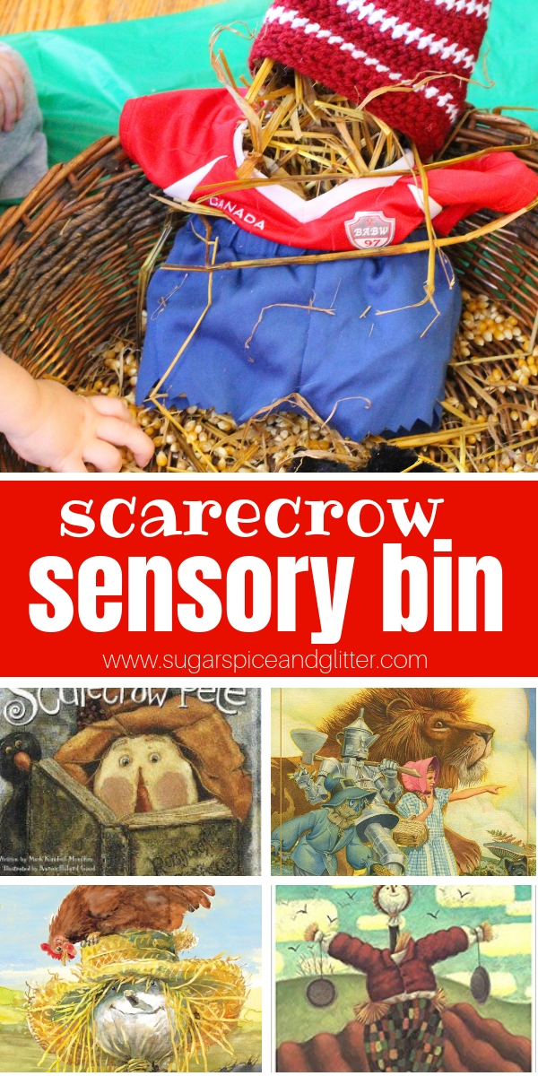 Montessori-inspired Scarecrow Sensory bin for preschoolers, this fall sensory bin is perfect for playing with as you read a scarecrow book and allows children to create their own mini scarecrows