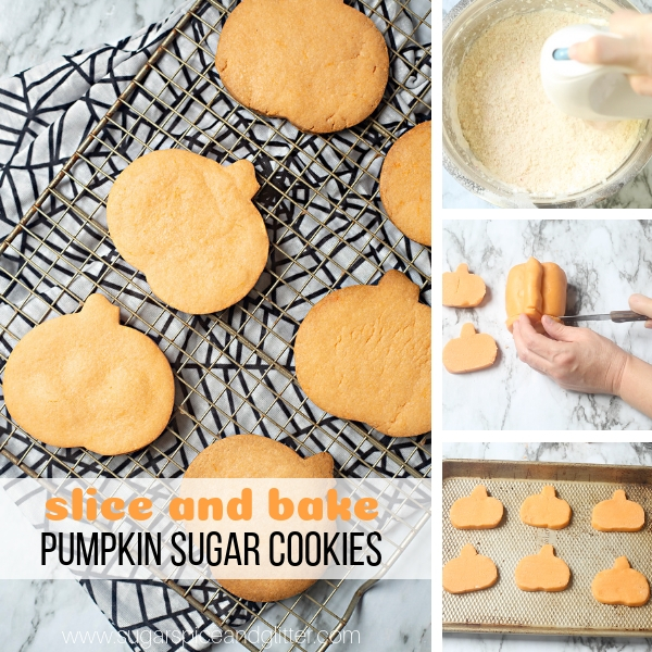 Homemade Slice and Bake Sugar Cookies are super fun to make with kids and super easy, too! These pumpkin sugar cookies taste delicious and freeze well