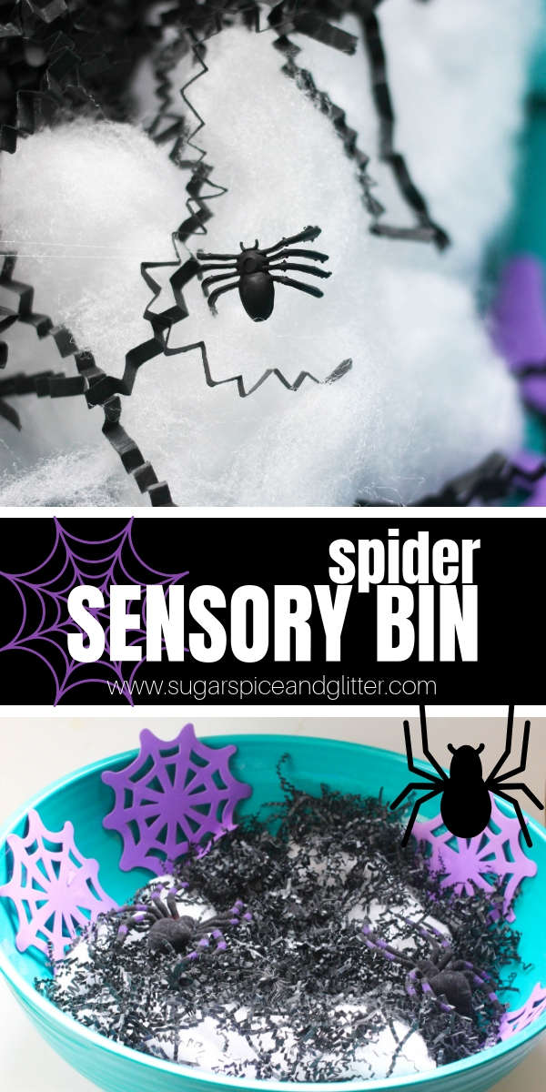 Your kids will love playing with this Simple Spider Sensory Bin after reading their favorite spider picture books, like the Very Busy Spider, Charlotte's Web, Anansi, or Miss Spider's Tea Party