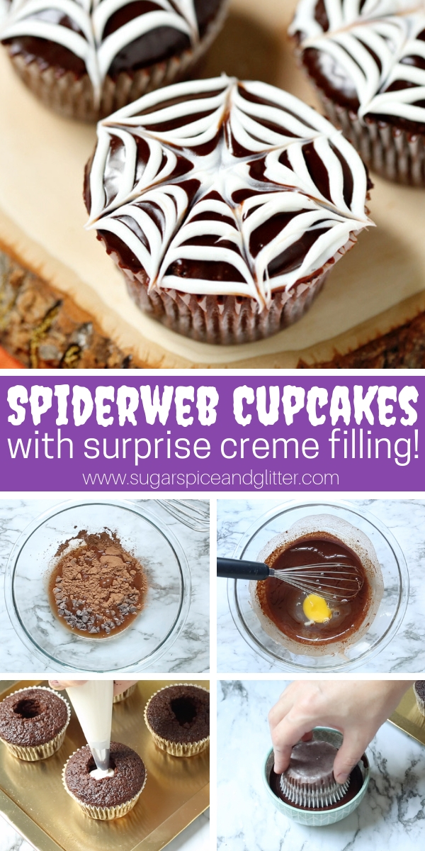 A spooky and fun Halloween cupcake recipe, these Spiderweb Cupcakes have a surprise cream filling and taste just like a Hostess cupcake!