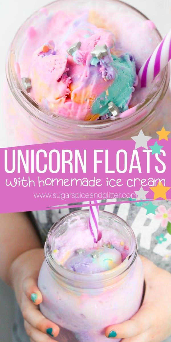 A fun and magical unicorn punch recipe for a unicorn party or family movie night, using homemade no-churn ice cream or store-bought.