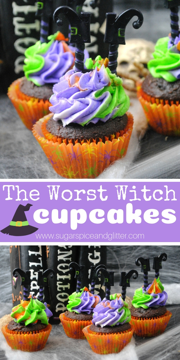 These Worst Witch-inspired cupcakes are actually the BEST chocolate Halloween cupcakes and super easy to make, too!