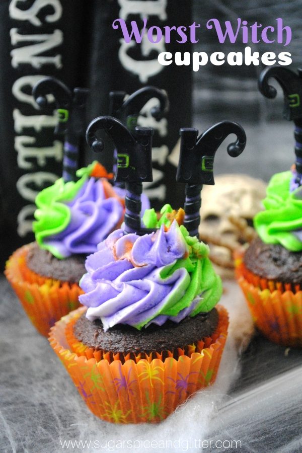 A fun Halloween cupcake for kids, this witch cupcake is inspired by the children's book series, The Worst Witch