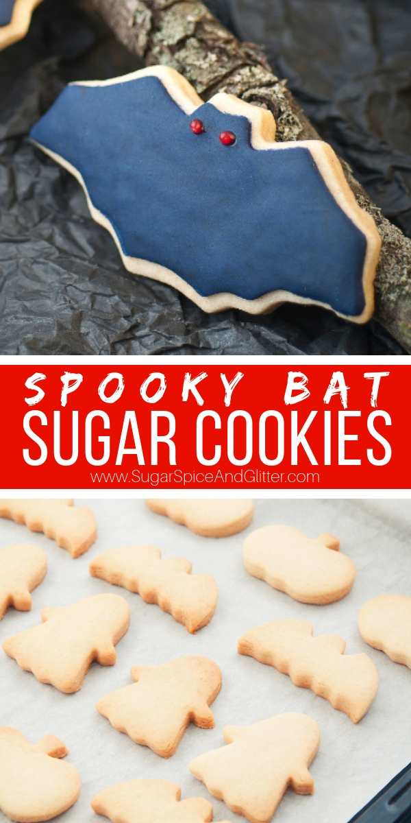 A fun Halloween sugar cookie, these Spooky Bat Cookies are the perfect first sugar cookie recipe if you are new to making and decorating sugar cookies.