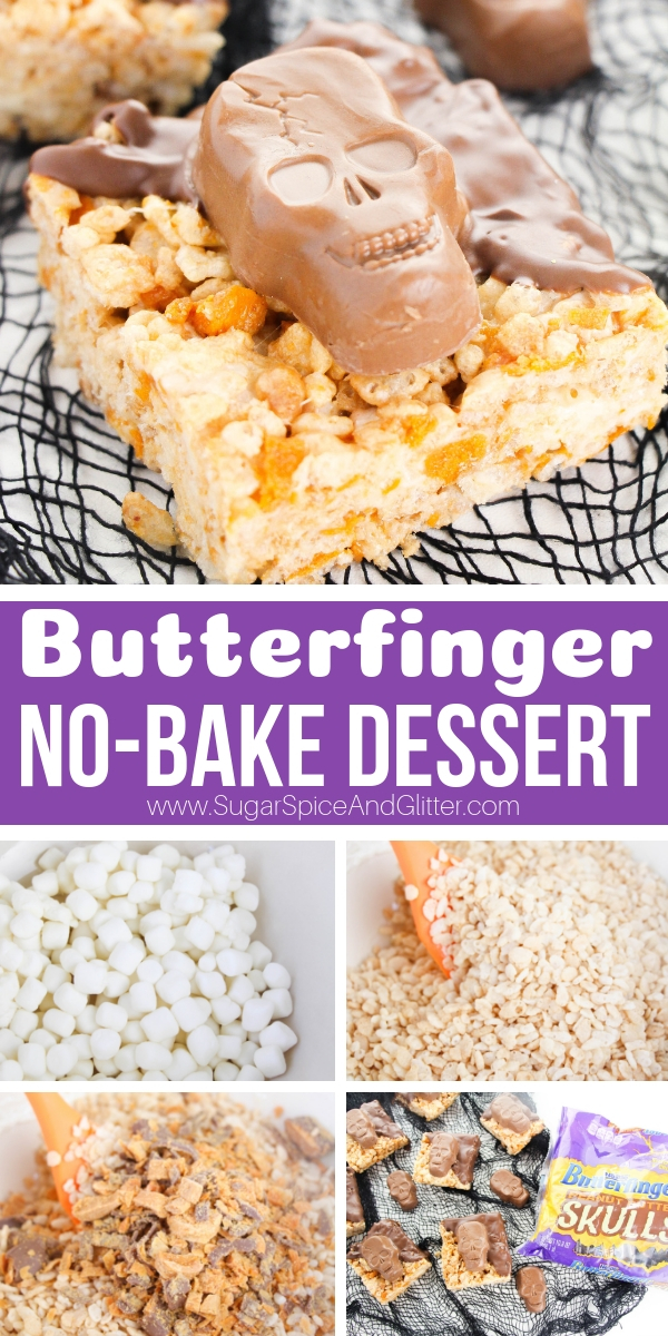 A fun Butterfinger Dessert recipe for Halloween, theseNo-Bake Butterfinger Treatsare a super simple dessert for your Halloween party or a family Halloween movie night.